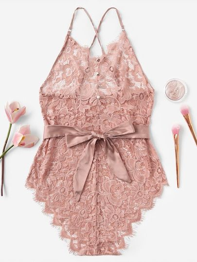 2b6585005 Criss Cross Belted Floral Lace Teddy Bodysuit