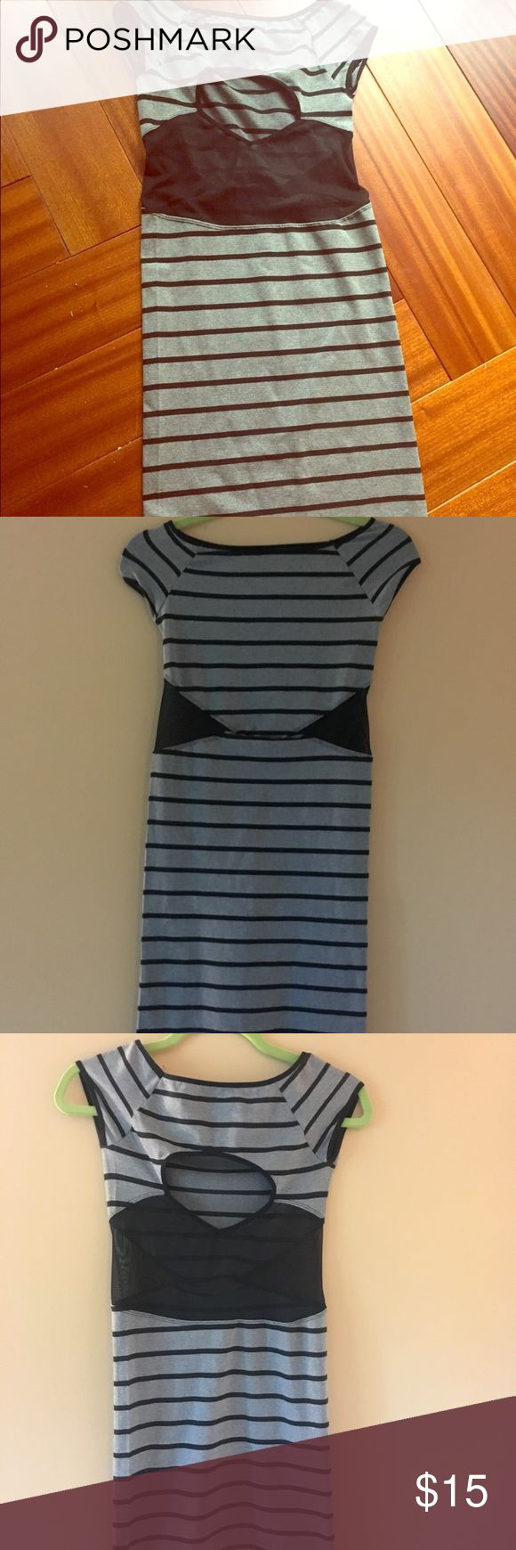 Gray and black midi bodycon stripes&see thru dress Gray and black horizontal striped dress with sheer and see thru windows at sides and back, around waist. In perfect condition. Size Small Dresses