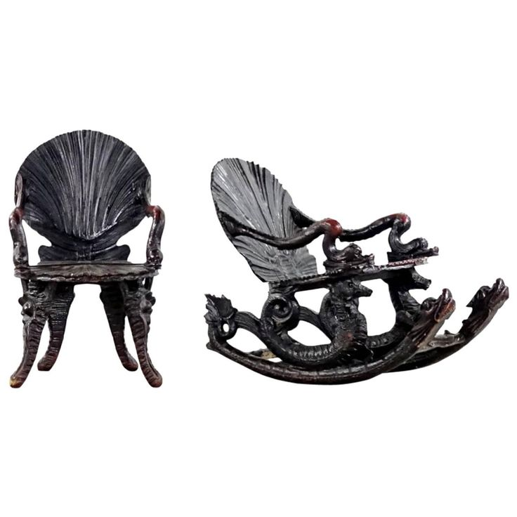 Very Rare Historism Grotto Rocking Chair