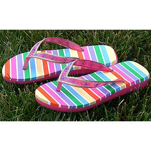 Rainbow Flip Flops No way would I pay $20 for thongs ! Just el cheapo's & bling them!