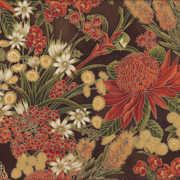 Australian Sun Grevillea Bottlebrush Banksia Flowers on Brown Quilting Fabric - Find a Fabric. Available to purchase in Fat Quarters, Half Metre, 3/4 Metre, 1 Metre and so on.