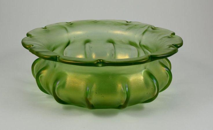 Early Loetz Crete Papillon Bowl Green Iridescent Bohemian art glass