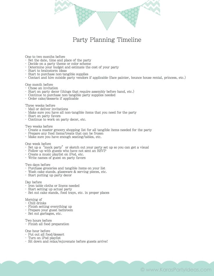 "maybe if I follow this I can ""relax before guests arrive"" because that has never happened!! FREE party planning timeline checklist! Via Kara's Party Ideas karaspartyideas.com #party #planning #ideas"