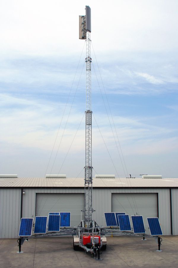 US Tower's RMTU480MDPLGO 80' Lattice mobile tower customized with sensors and large solar array