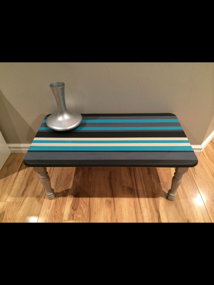 Tired wooden coffee table hand painted with some of my favourite colours