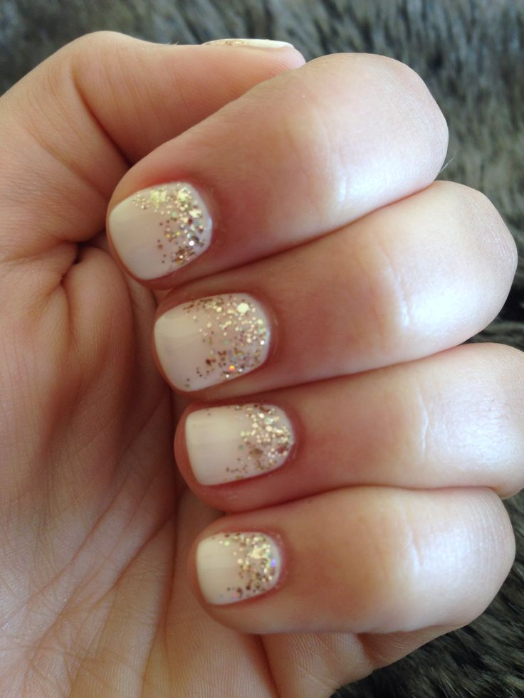 Nude Gel Nails With Fading Gold Glitter Top To Bottom -4750