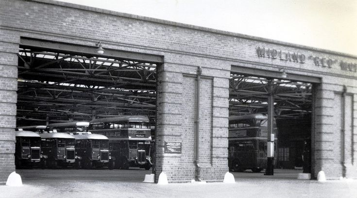 Midland Red bus garage 1938 Sutton Coldfield. Remembering a school history project many years ago I think this was a ginger beer factory before the bus garage! Later became part of WMPTE (West Midlands Passenger Transport Executive) in the 1970s, taking over some of the BIrmingham & Midland Motor Omnibus (BMMO) maufactured buses (D9's etc?). These vehicles were repainted in the blue and cream livery.