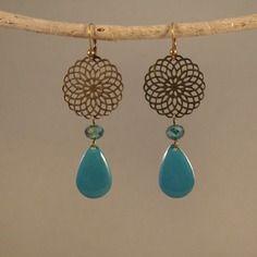 Boucles d'oreilles sequins émaillés et perles de cristal irisé vert turquoise                                                                                                                                                                                 Plus