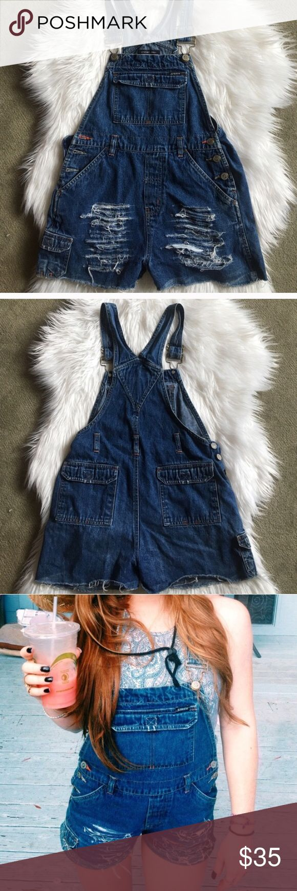 RESELLING:  Distressed Jean Overalls Bought but they were too small for my height. I am 5'4 so I wouldn't buy these unless you're shorter than that! Super cute overalls!! Jeans Overalls