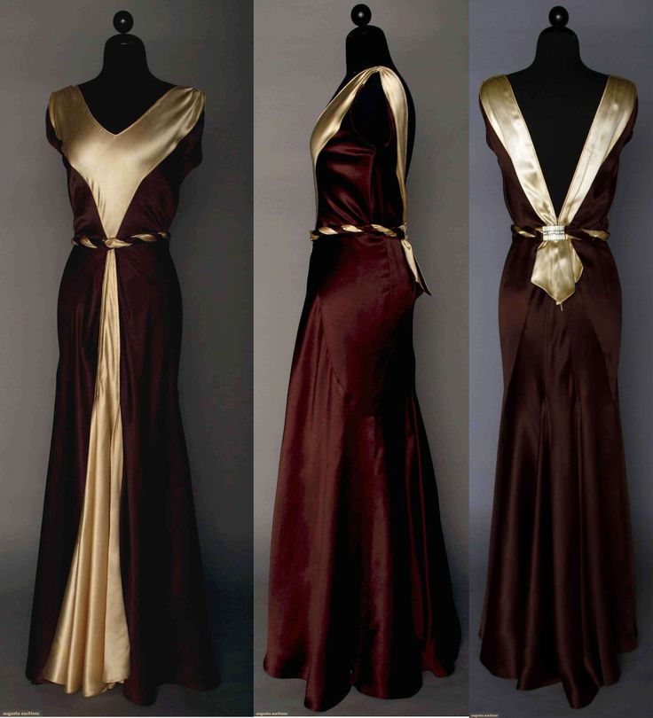 "SATIN EVENING GOWN, 1930s  2-tone silk charmeuse in ecru & chocolate, V front & back w/ buckle at back waistline, self fabric belt, B 36"", W 24"", L 58"", excellent. Augusta Auctions April 9, 2014 - NYC New York City"