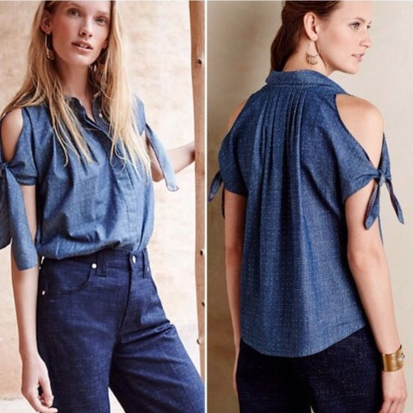 HP  NWT Retro Open Shoulder Chambray Top Anthropologie always has the cutest take on traditional styles. This blouse is brand new and in original packaging. Purchased but haven't worn, which is a shame because it's so darling! I love this with some bright colored skinnies or paired with a full skirt! Brand is Holding Horses, size 6, fits true to size. Enjoy! Anthropologie Tops Button Down Shirts