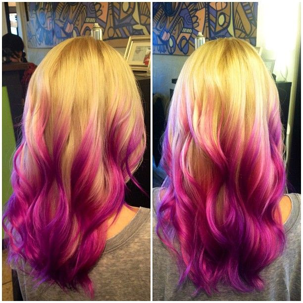 Purple And Magenta Balayage Over Long Layered Blonde Hair