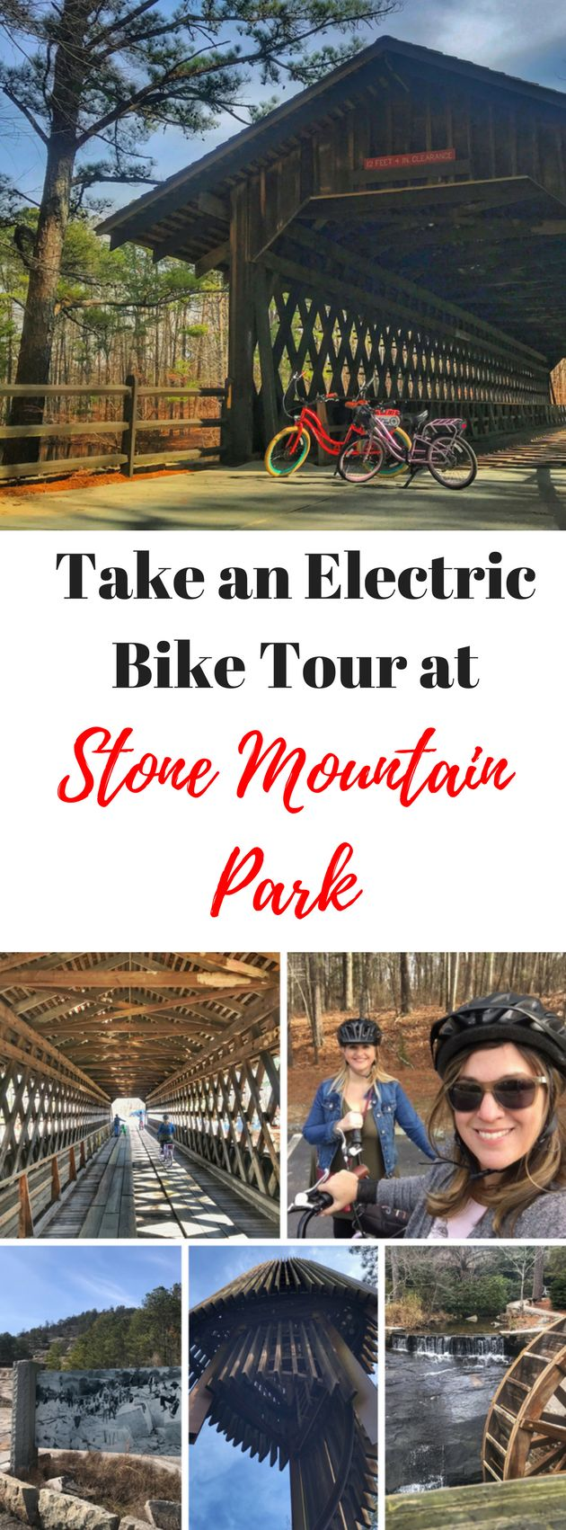 See hidden gems in Stone Mountain Park in Atlanta's DeKalb County on an electric bike tour.  Georgia, United States