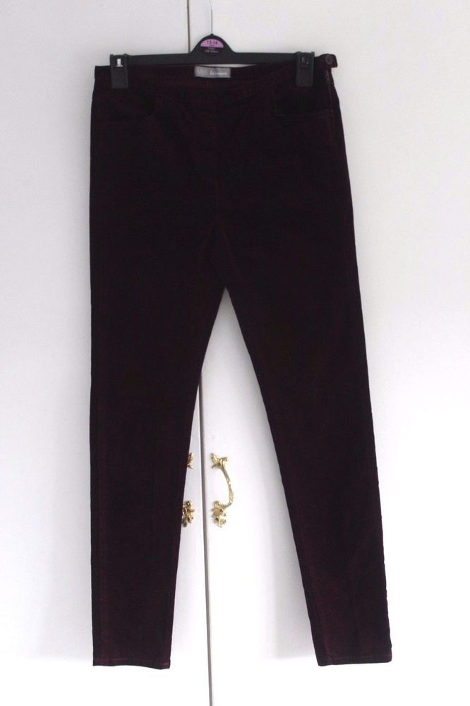 Size 10 M MARKS AND SPENCER Trousers Colour Bordeaux Velour Tapered (295) #MarksandSpencer #OtherCasualTrousers