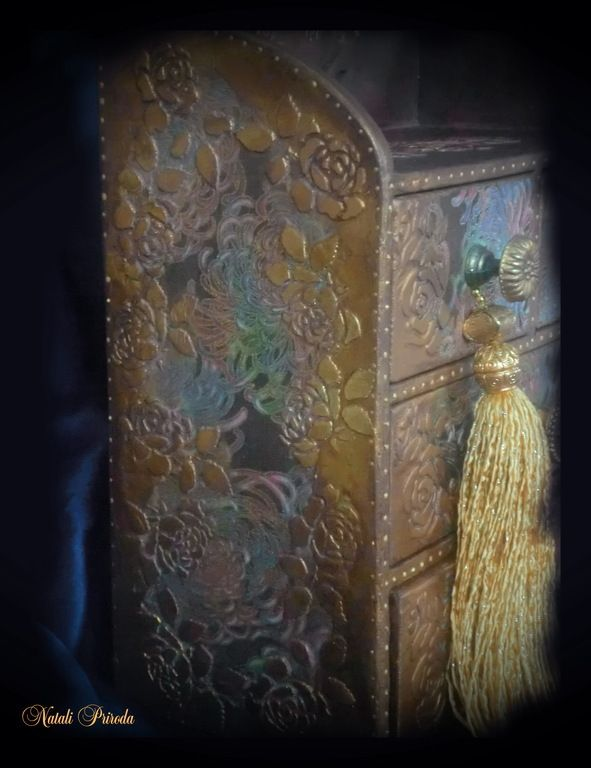 Купить Демидовские Мануфактуры - золотой, коричневый, мини-комод, комодик, комодик для украшений, комод для украшений