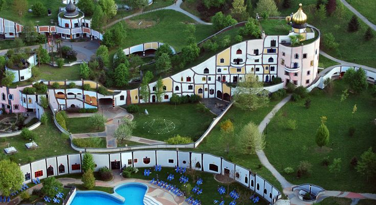 """Hundertwasser - The Rogner Bad Blumua Hotel in Styria, Austria. """"Green roofs, round shapes, colourful facades and golden domes make up a spirited work of art in the middle of fields and madows."""""""
