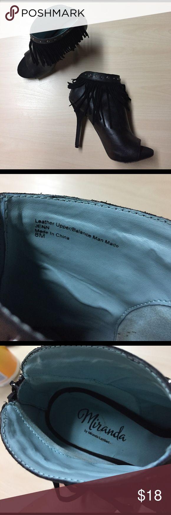 """Miranda Lambert Fringe Peep Toe Booties - 8 Miranda Lambert Fringe Peep Toe Booties - 8 // super cute / Fringe - stud details / heel height: 4.5"""" / 1"""" platform miranda Shoes Ankle Boots & Booties"""