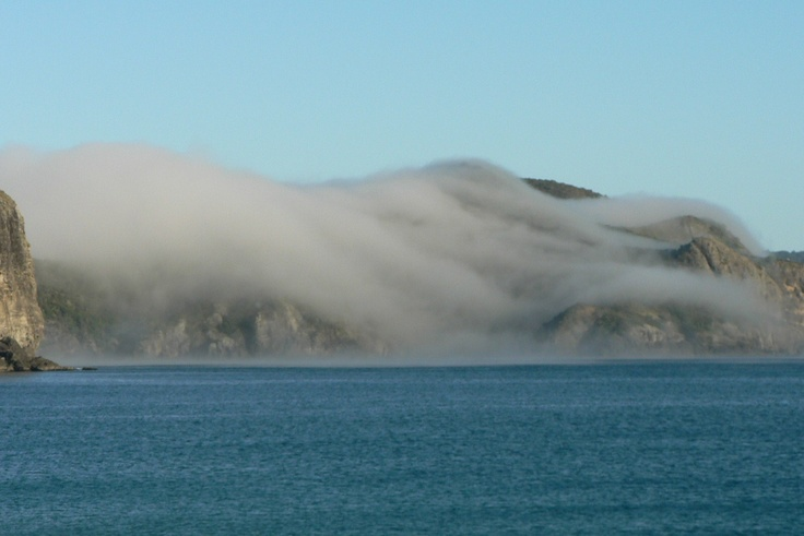 Fog blanketing hills on north face of Whangaroa harbour mouth, Northland, NZ