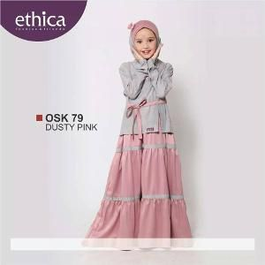 Baju Gamis Anak Ethica OSK 79 Dusty Pink - Ramadhan Sale