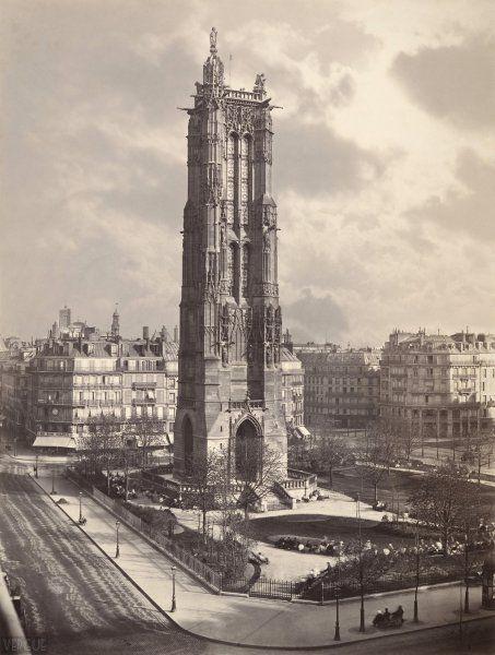 La tour de Saint-Jacques de la Boucherie, Paris IVe. Circa 1867.