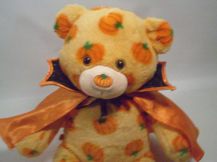 Build a Bear Plush Stuffed Animal Orange Pumpkins Dracula Cape Discontinued #AllOccasion