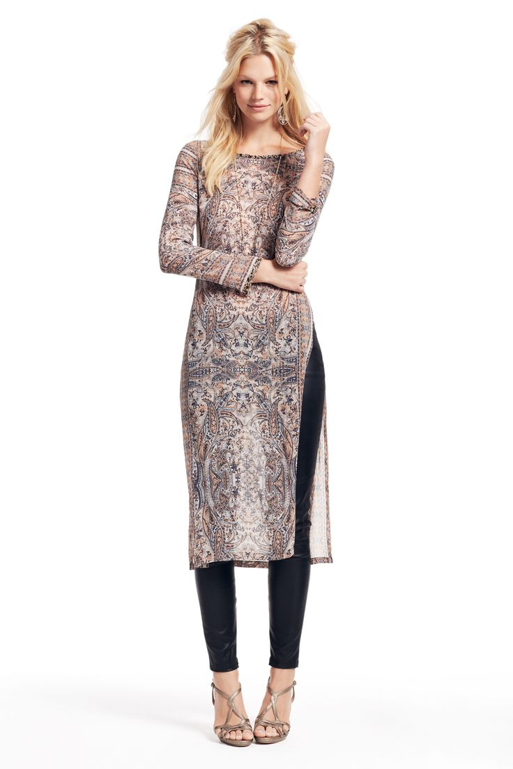 silk printed tunic dress. Discover your perfect holiday ensemble!