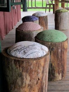 Log seats -Note the cushions. Great for any rustic pop-up or conventional restaurant environment! PopUp Republic