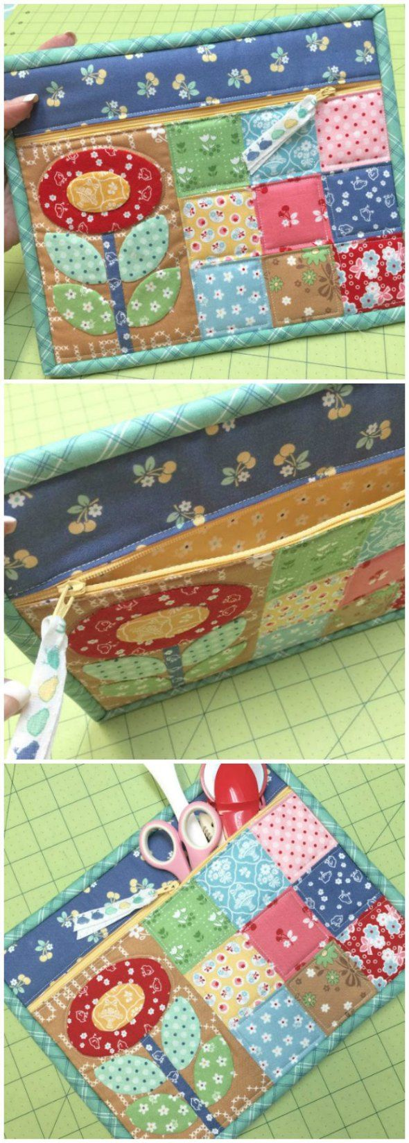 Innovative and very pretty way to sew a simple zipper pouch. This method makes sewing the zipper super-easy and the binding is so cute too!