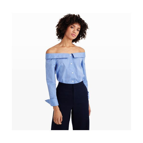 Club Monaco Jearim Shirt in Color Blue ($130) ❤ liked on Polyvore featuring tops, blue, white off shoulder top, button down shirts, button front shirt, white button down shirt and blue button up shirt