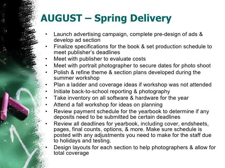 School Yearbook Staff Monthly Calendar