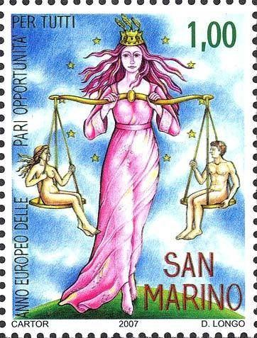 Stamp: Equal opportunity to man and woman (San Marino) (Equal opportunity to all) Mi:SM 2318,Sn:SM 1731,Un:SM 2165