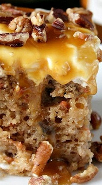 Sea Salt Caramel Carrot Cake Poke Cake _ A fun and delicious twist on the classic carrot cake!