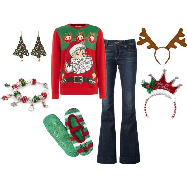 Ugly Christmas Sweater Party Outift -- still cute but definitely festive!