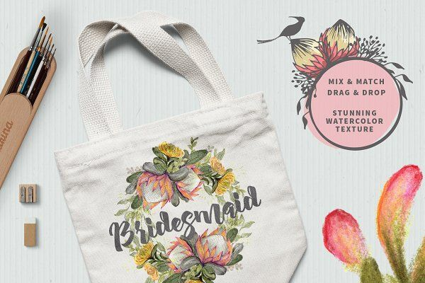 WATERCOLOR Protea Logo & Card Kit by Ingrid Marais Design on @creativemarket