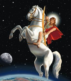 1st horse of the apocalypse- biblical symbol: Rev 6:2. Jesus wearing a crown and white garments, wielding a bow and mounted on top of a white horse symbolizing righteous and holy war. He is also to conquer nations as his inheritance.