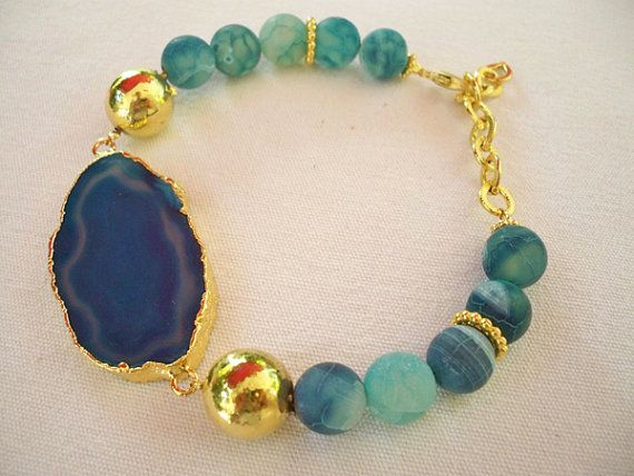 Blue colored Agate electroforming BRACELET by beadycats on Etsy