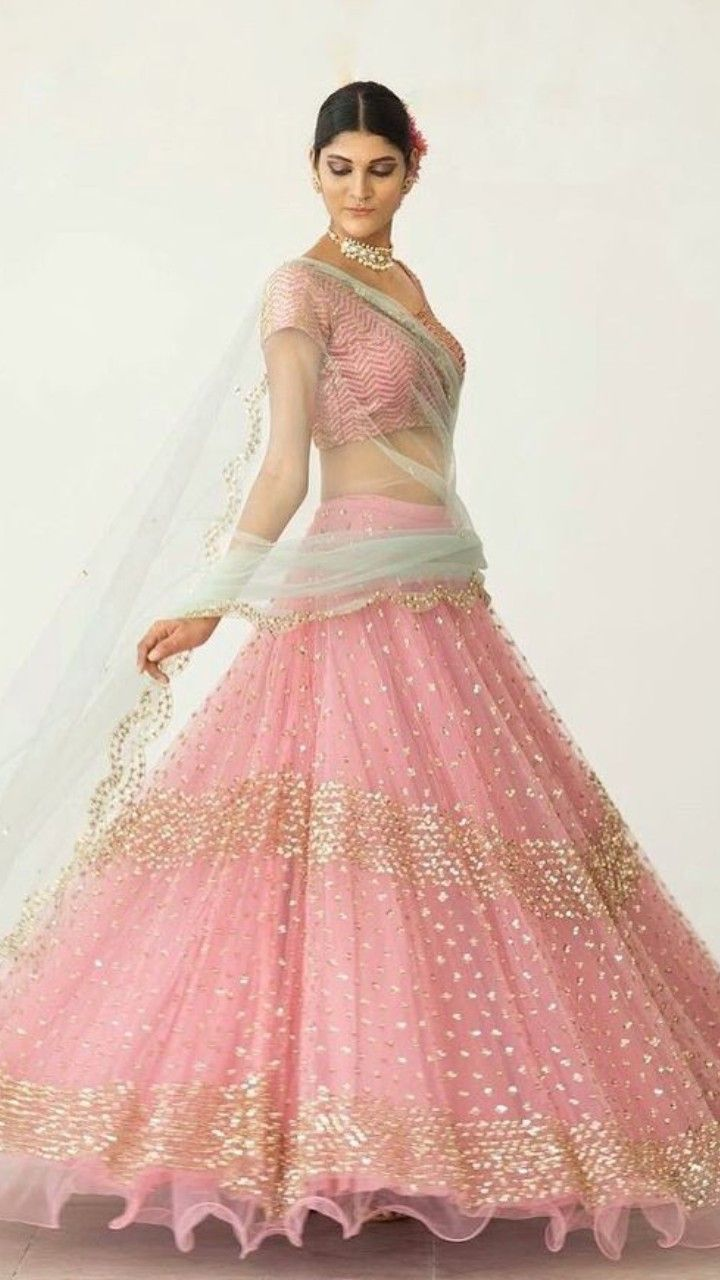 Beautiful Net Embroidered Lehenga Choli Embroidery Is Implemented