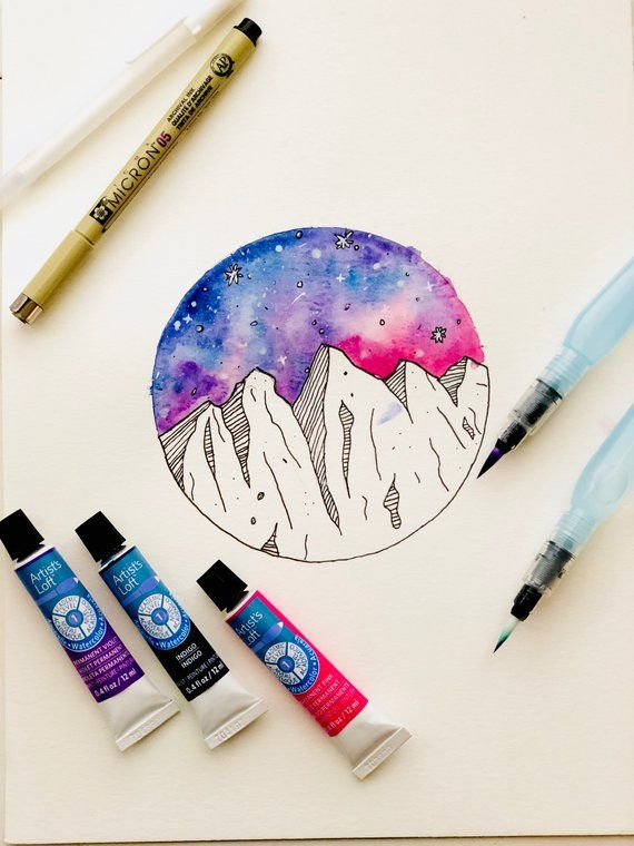 Galaxy Mountain Art In 2020 Galaxy Drawings Watercolor Pencil