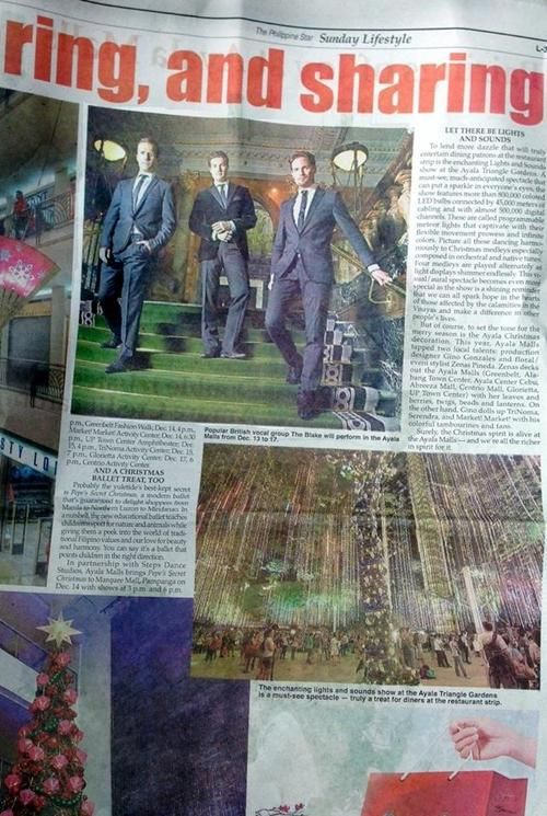 BLAKE 4 hours ago Mabuhay Philippines! It was wonderful to be featured in the Philippine Star newspaper this Sunday, with advanced coverage of our concerts around Manila & in Cagayan De Oro next week! We will arrive in Manila in just FOUR DAYS... find us and say hello! :)