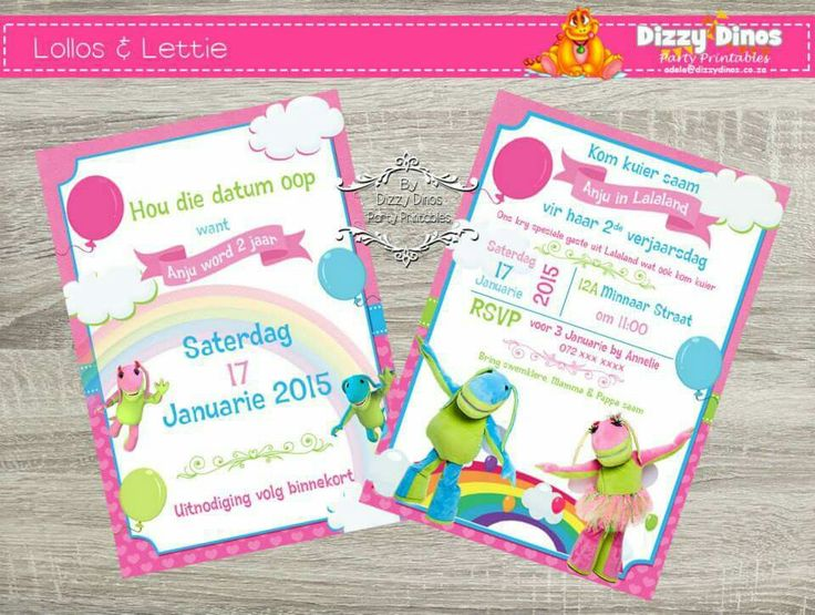 Lollos en lettie invitation and save the date.