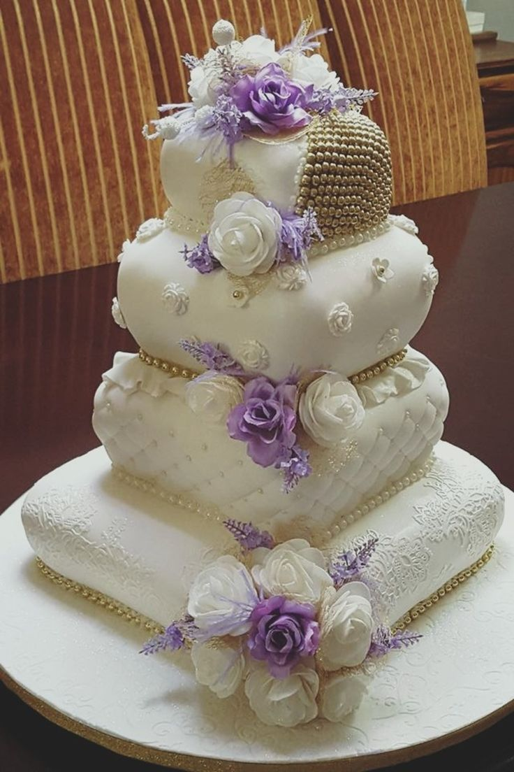 Purple and White Pillow Wedding Cake