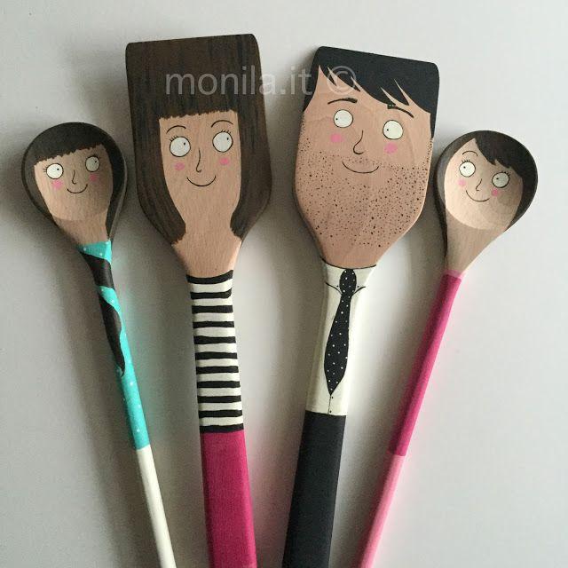 Monila handmade, illustration,illustrazione,diy ,cucchiai legno ,famiglia,Family
