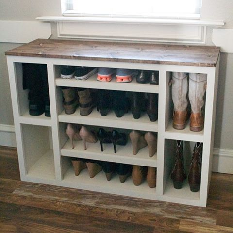It's purge and organize season around here and this DIY Shoe Storage Cabinet hits the spot  Free plans on our site for this piece of our modular closet storage system is up! Link in profile ‍‍ #shanty2chic #organization