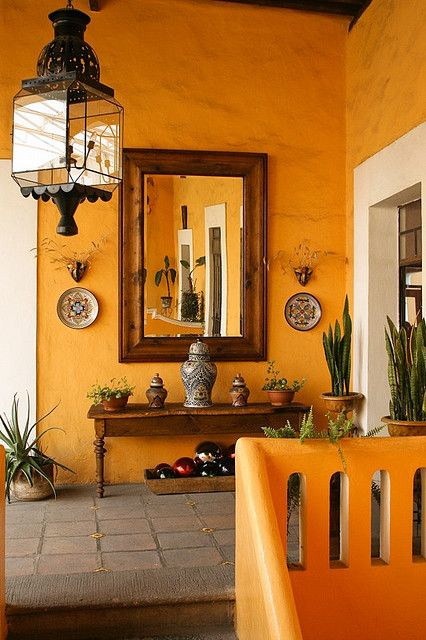 Orange hallway,square black lantern, Mesón San Sebastián, Puebla Mexico. Oscar_en_fotos on Flickr