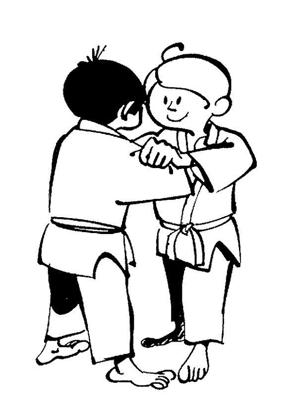 Coloriage Pour Enfant Judokas Pret Au Combat Kleurplaten Sport