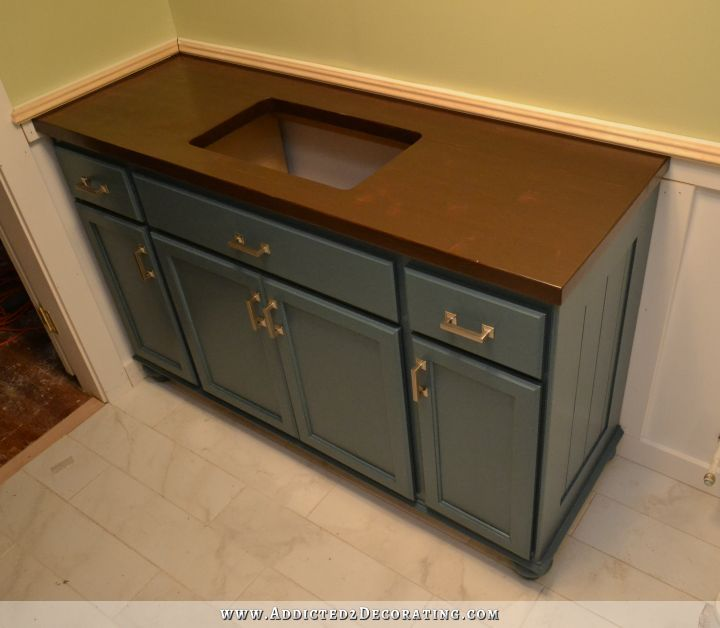 Builder grade cabinet remodel, Teal Furniture-Style Vanity Made From Stock Cabinets – Finished!