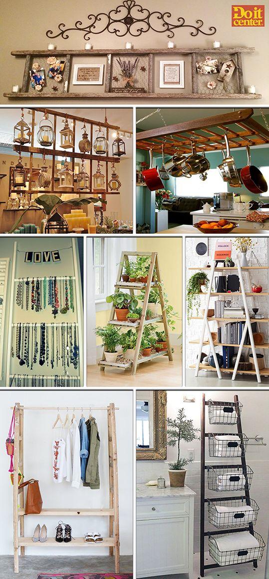 No deseches esa vieja escalera. Te asombrará saber todo lo que puedes hacer con ella para decorar tu hogar.  #Ecoideas #Reciclaje #Escaleras