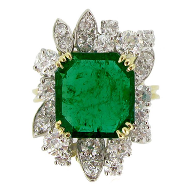 French Emerald Diamond Gold Platinum Cluster Ring circa 1950 | See more rare vintage Cluster Rings at https://www.1stdibs.com/jewelry/rings/cluster-rings