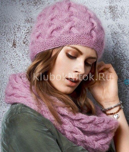 Шапка с косами   Вязание для женщин   Вязание спицами и крючком. Схемы вязания.