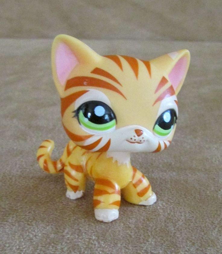 1451  Littlest Pet Shop Hasbro Tiger stripe cat orange short hair #Hasbro